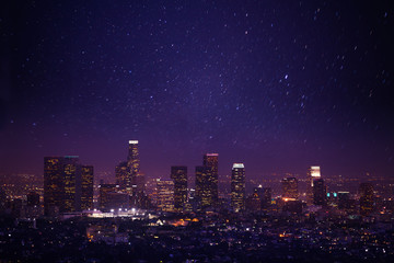 Foto op Plexiglas Los Angeles Beautiful night cityscape view of Los Angeles, US