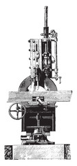 Slotting machine, Front view, vintage engraving.