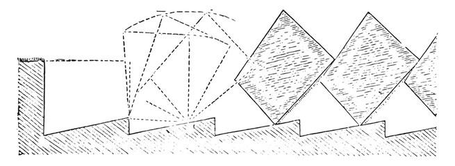 Labor trapezoidal strips, vintage engraving.
