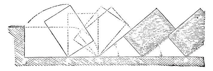 Rotational movement of the analysis of a strip of land, vintage