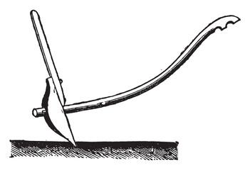 Mangalore Plow, vintage engraving.