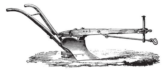 Age wooden plow to Eckert, vintage engraving.