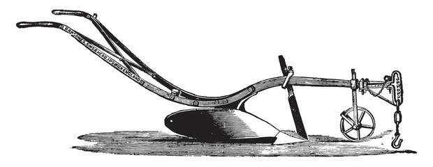 Plow or RHA RHB, Ransomes, for light soils, vintage engraving.