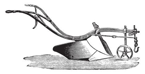 Plow for light soils, Cooke, vintage engraving.