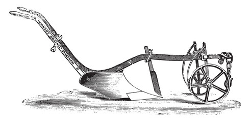 Plow Y Hornsby for light soils, vintage engraving.