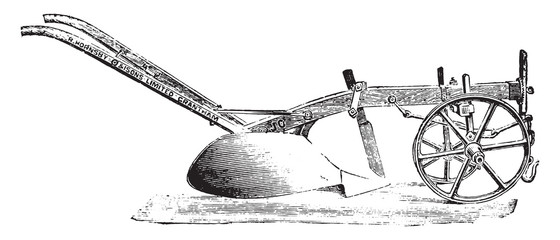 Old wooden plow of R. Hornsby, vintage engraving.
