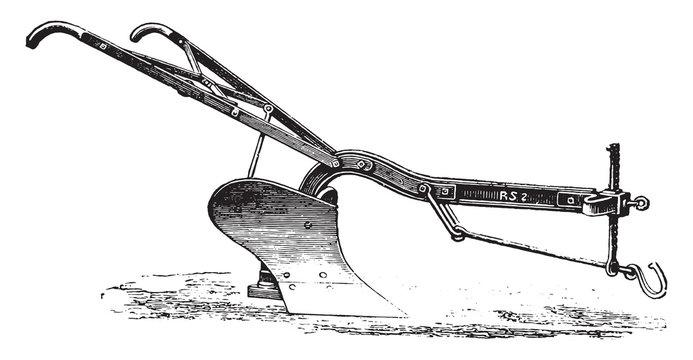 Plow iron age to Eckert, vintage engraving.