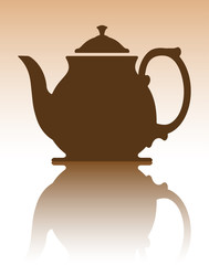 Abstract vector decoration with teapot and mirror reflection