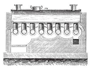 Wolff boiler, vintage engraving.