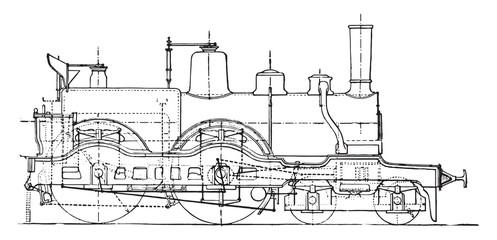Machine travelers express train, vintage engraving.