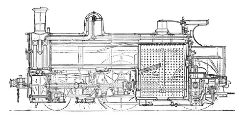 Locomotive compound of Mr. Webb, Longitudinal section, vintage e