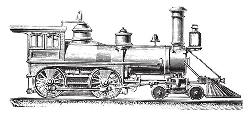 American type machine with two coupled axles, vintage engraving.