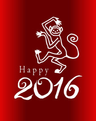 """Greeting card 2016 Lunar New Year, Chinese year of monkey. With text """"Happy 2016"""""""