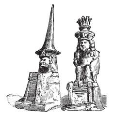 Huitzilopochtli and Quetzalcoatl, vintage engraving.