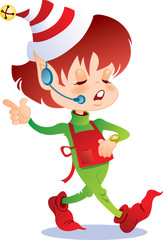 Busy Christmas elf wearing headset and checking her watch