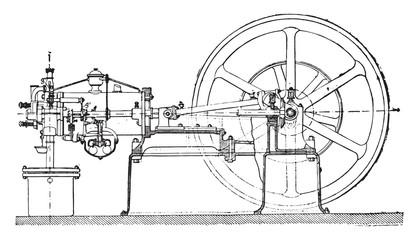 Side elevation of an Otto engine, the frame being assumed sectio
