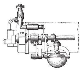 Otto engine governor, front view, vintage engraving.