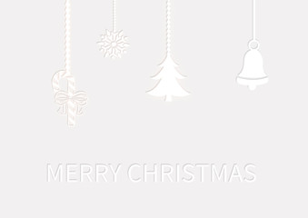 Christmas decoration bell candy tree ornaments on white background