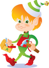 Busy Christmas elf carrying a toolbox and hammer