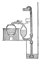 Steam pump Savery, vintage engraving.