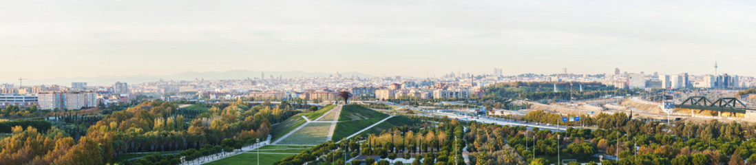Panoramic view of Madrid, Spain from the Manzanares Lineal Park