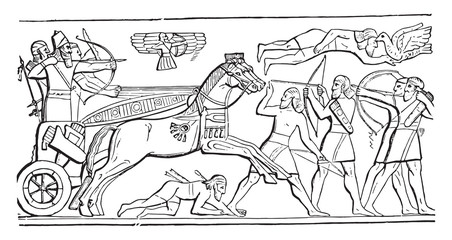 Assyrian king in battle, vintage engraving.
