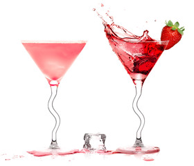 Stylish Cocktail Glasses with Daiquiri and Strawberry Liquor Splashing