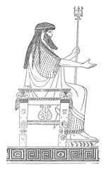 Greek throne, vintage engraving.