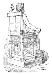 Greek seat, vintage engraving.