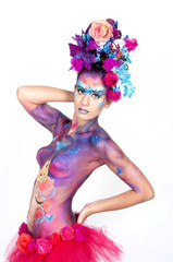 Body-painted girl.Carnival concept