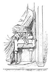 Greek chair, vintage engraving.