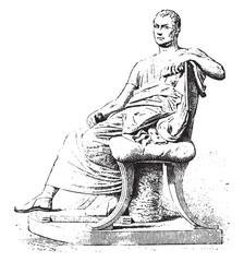 Menander, vintage engraving.
