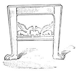 Etruscan stool, vintage engraving.