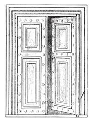 Roman Gate, vintage engraving.