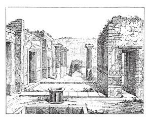 Poet house, in Pompeii, vintage engraving.