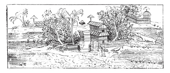 A garden in the style known Egyptian, vintage engraving.