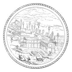 Roman Villa, vintage engraving.