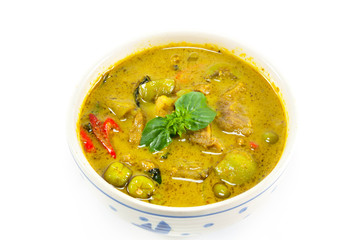 green curry on white background.