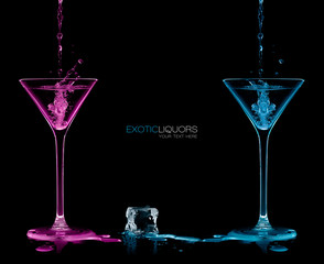 Style and Celebration Concept. Two Cocktail Glasses with Colorfu
