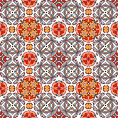 Decorative colorful seamless pattern in mosaic ethnic style. Vector background illustration