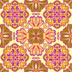 Seamless patchwork pattern from Moroccan, Portuguese  tiles, Azulejo, ornaments. For wallpaper, pattern fills, surface textures