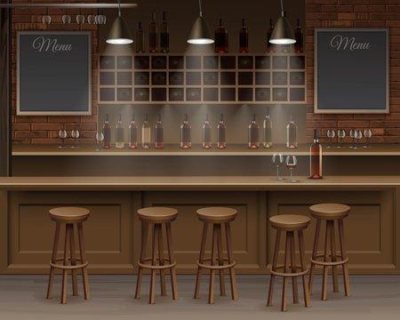 Bar Cafe Beer Cafeteria Counter Desk Interior Vector