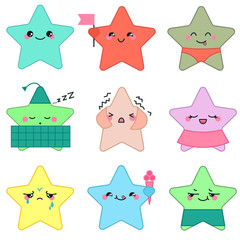 Vector kawaii style cute stars