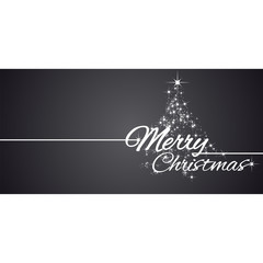 Merry Christmas greeting card stars black background