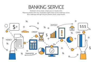 Banking service outline concept,  deposit, credit, money transfer