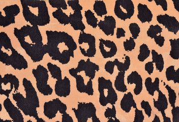 Black and orange leopard fur pattern. Spotted animal print as background.