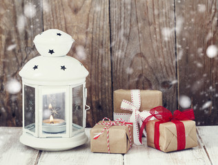 Christmas gifts and candle
