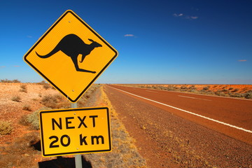 Deurstickers Kangoeroe Australian road sign on the highway