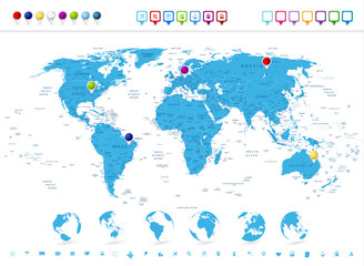 Detailed World Map with Globe Icons and Navigation Symbols