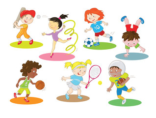 Kids are doing indoor and outdoor sports. Cartoon clip art characters collection in a simple style with colorful color scheme.